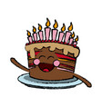 kawaii cake chocolate candles happy party vector image vector image