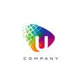 letter u colourful rainbow logo design vector image vector image