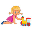 little girl crawling on her knees and vector image vector image