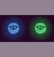 neon mummy face in blue and green color vector image vector image