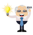 old man is having idea on white background vector image vector image