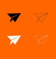 paper airplane black and white set icon vector image vector image