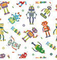 Pattern of robots in cartoon style vector image vector image