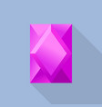 pink tourmaline shiny stone icon flat style vector image
