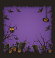 purple halloween poster with black spooky vector image vector image