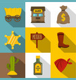 retro wild west icons set flat style vector image vector image