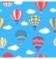 seamless pattern flying hot air balloons vector image