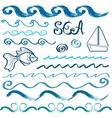 set hand drawn sea design elements vector image
