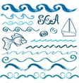 Set of hand drawn sea design elements vector image vector image