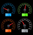 set of speedometer scales black speed gauges with vector image vector image