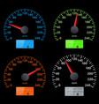 set of speedometer scales black speed gauges with vector image