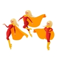 set of women in red and yellow superhero vector image