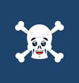 skull and crossbones happy emoji skeleton head vector image