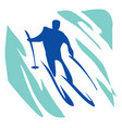 slalom a man on skis vector image vector image