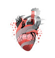 smoker or polluted environment heart metaphor flat vector image