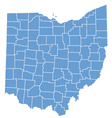 State map of Ohio by counties vector image
