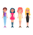 stylish women in casual and elegant outfits set vector image vector image