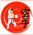 The emblem of the traditional karate boy on a red vector image vector image