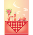 vase with flower wine with goblet and tray vector image vector image