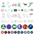 veterinary clinic cartoon icons in set collection vector image vector image