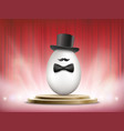 white chicken egg in a hat and a bow tie vector image vector image