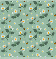 white flowers seamless pattern with ladybug vector image vector image