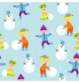 Winter kids seamless pattern vector image