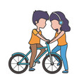 woman with headphones and man riding bike vector image vector image
