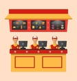 Workers with Cash Register in Cafe vector image vector image