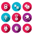 Wrestling flat icon collection vector image
