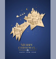 year paper cut star city house vector image vector image