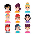 stylized beautiful young girls and women cute vector image