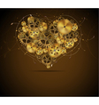 Abstract mechanical heart with floral elements vector image