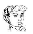 adrey hepburn like woman portrait vector image vector image