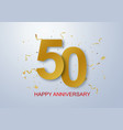 anniversary banner celebration with gold confetti vector image vector image