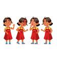 arab muslim girl kindergarten kid poses set
