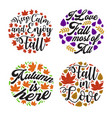 autumn saying and quote set vector image vector image