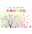 Autumn tree with falling down leaves vector image vector image