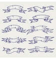 ball pen sketch vintage ribbons vector image