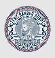 barber shop logo with hipster man vector image vector image