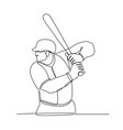 baseball player batting continuous line vector image