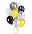 black yellow silver transparent balloons vector image