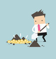 businessman digging a ground to find treasure coin vector image vector image