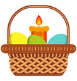 cartoon easter egg candle wicker basket icon vector image vector image