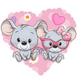 cartoon mouses on a heart background vector image vector image