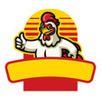 chicken mascot thumb up sign vector image vector image