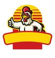 Chicken mascot thumb up sign