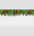 christmas tree top border decoration with red vector image