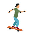 cool young guy riding a skateboard with cap gloves vector image vector image