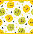 cute smiling lemon and lime fruits vector image vector image